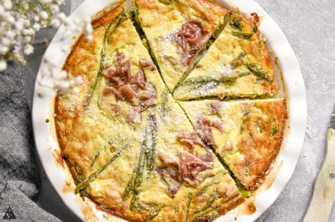 top view of crustless asparagus quiche