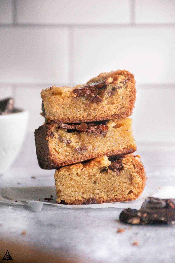 side view of low carb cookie bars