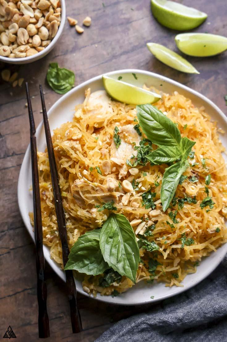top view of spaghetti squash pad thai