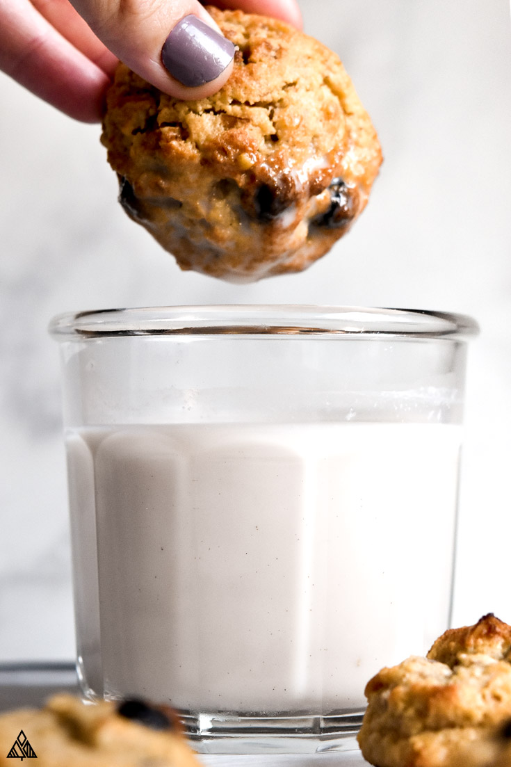 low carb oatmeal cookies with a cup of milk
