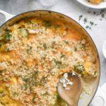 cauliflower rice casserole with a spoon