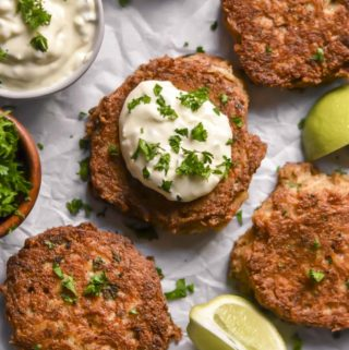 top view of low carb crab cakes