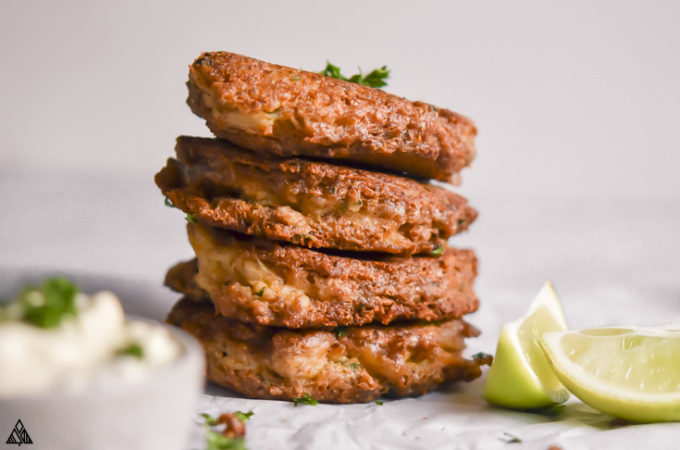 side view of low carb crab cakes