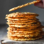 A stack of parmesan crisps