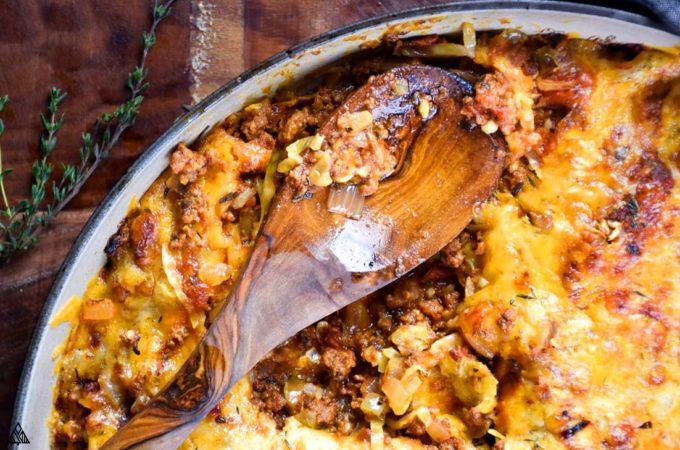 serving of keto goulash