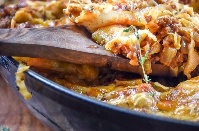 Low Carb Goulash is a big pot of bubbling meat and veggies in a tomato-y broth, covered in cheese — without carbs. What more could you ask for?! #lowcarbgoulash #ketogoulash