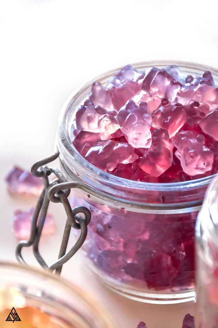 a jar of purple gummy bears