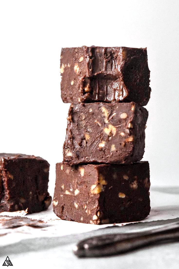stack of low carb fudge