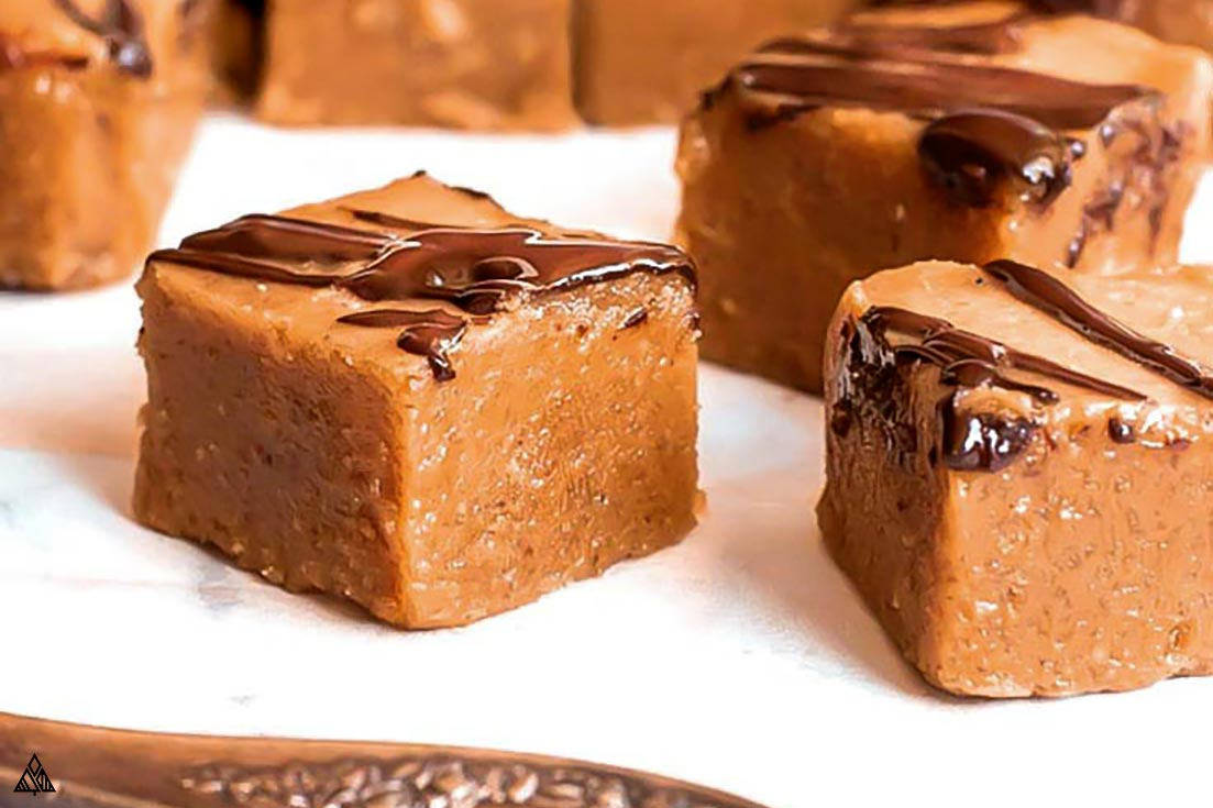 slices of low carb peanut butter fudge