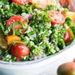 large bowl of cauliflower tabouleh
