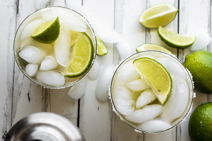 Top view of low carb margarita in 2 glasses