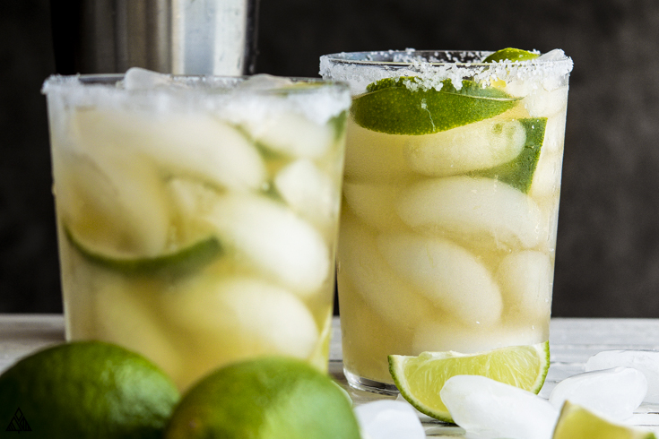 Closer look of low carb margarita in a glass