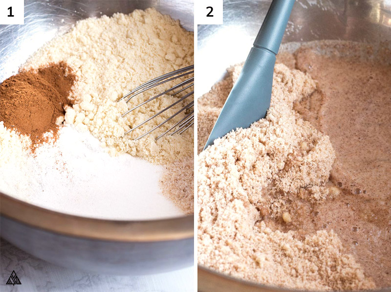 Mixing the ingredients of almond bread in a large bowl