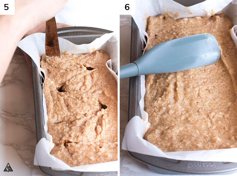 Placing the batter into the bread pan