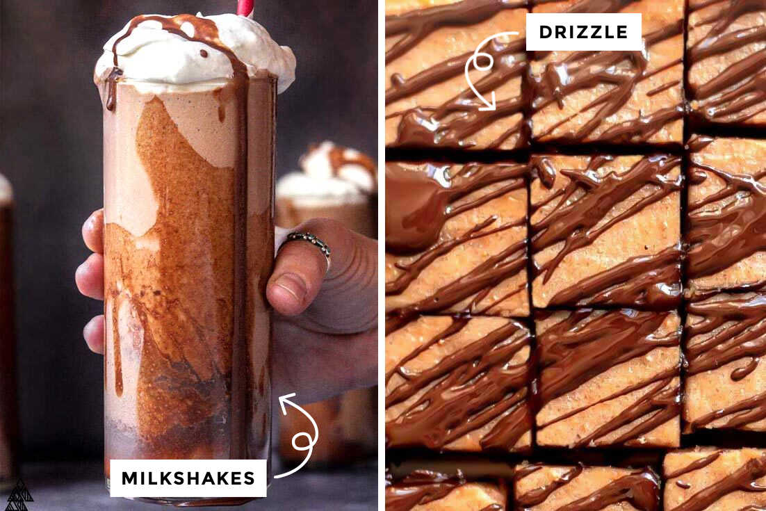 sugar free chocolate syrup in a milkshake and drizzled over fudge