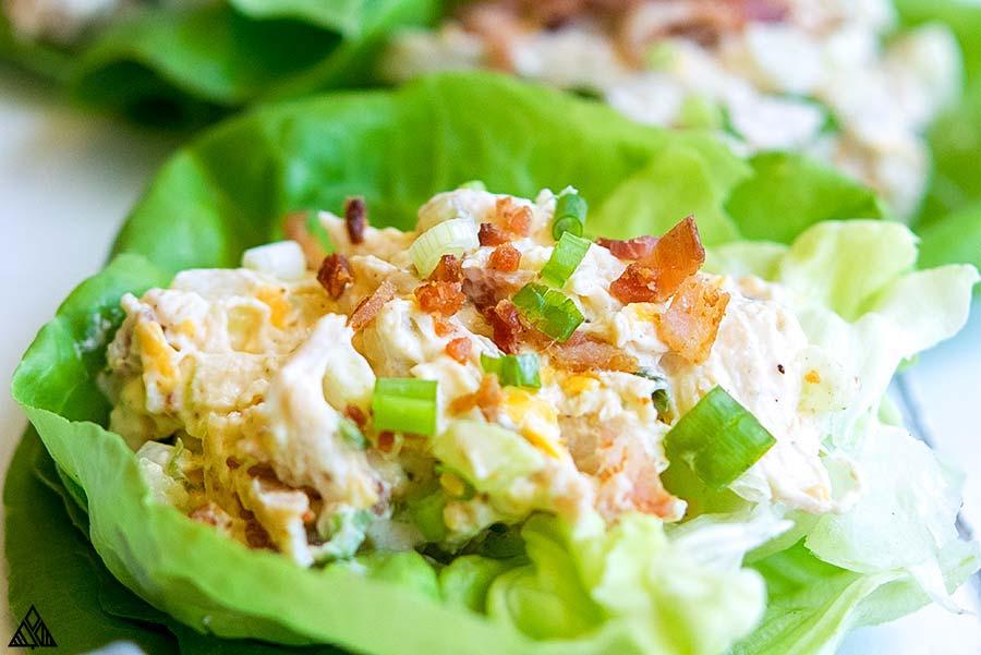 Closer look of rotisserie chicken salad