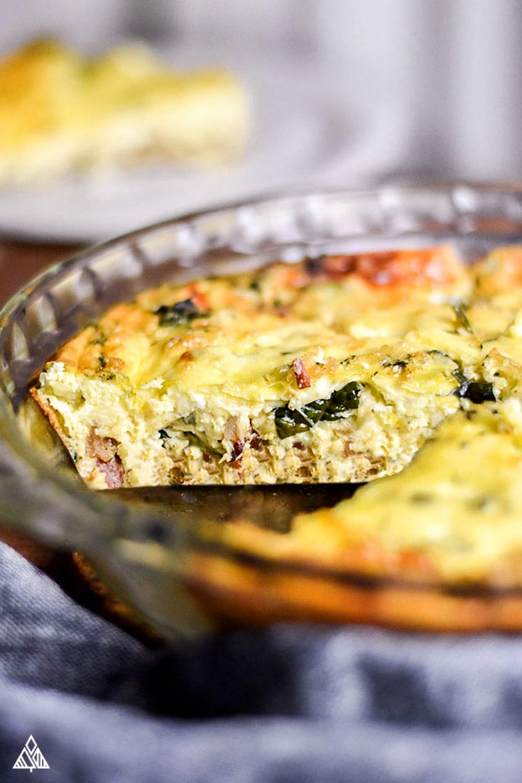 Side view of crustless quiche
