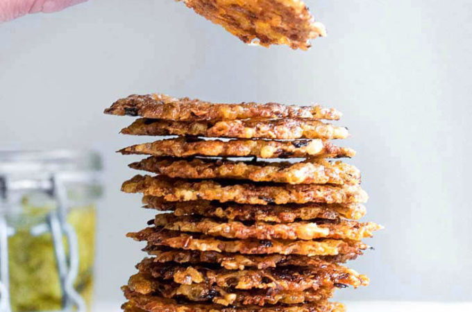 large stack of pesto parmesan crisps