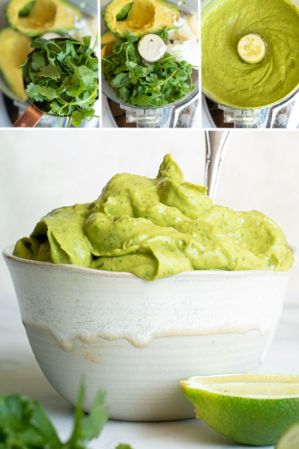 What's your favorite low carb dip? ? . Each and every sauce has a special place in my heart, but this avocado sauce may just be the most versatile! Lime, sour cream, cilantro and avocados — need I say more? #avocadosauce #lowcarbavocadosauce