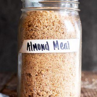 jar full of homemade almond meal