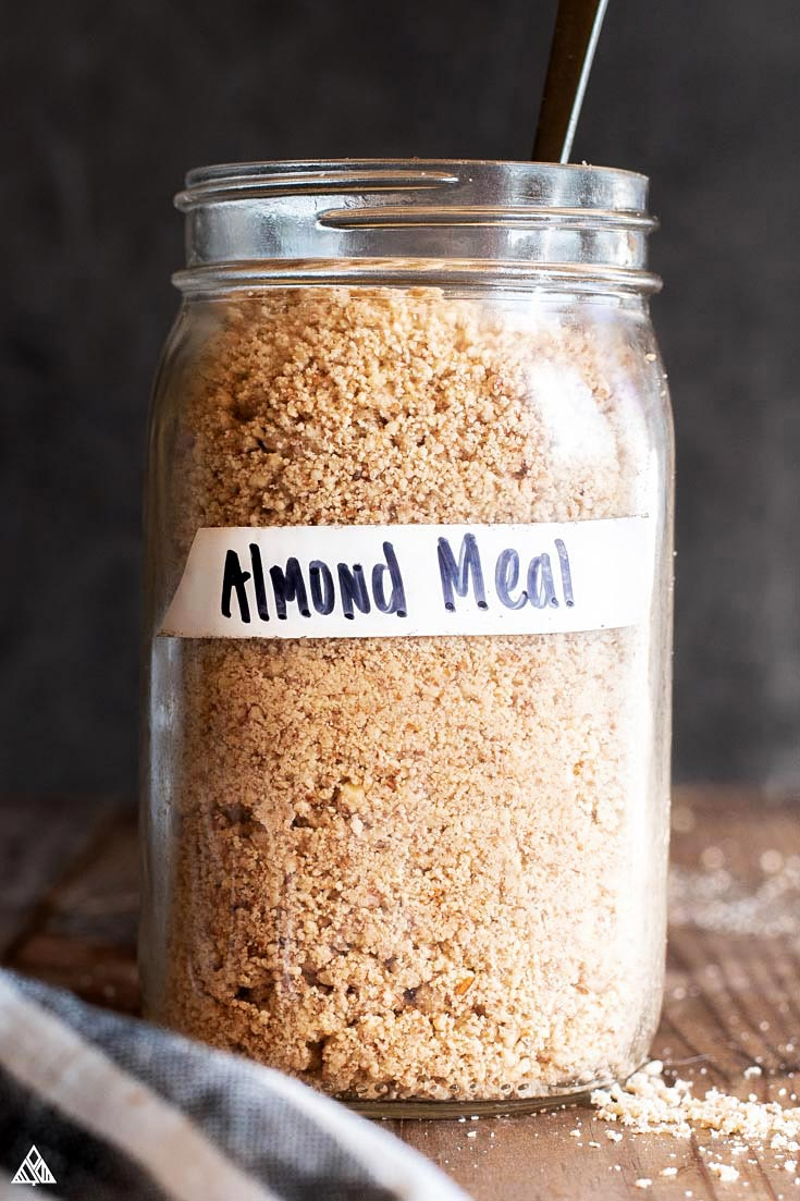jar full of homemade almond meal