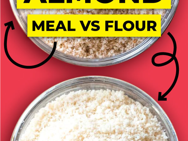Images of almond flour and meal with a title on top