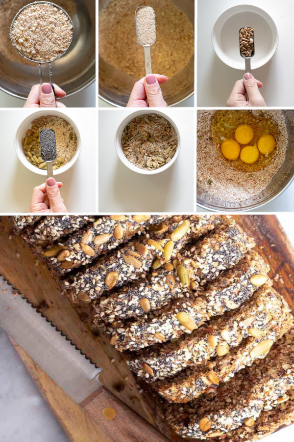??What's your favorite kind of bread? I LOVE seed crusted bread, so I made this seed crusted low carb bread recipe, and it's friggin' delicious! Just whip up your favorite low carb bread recipe and sprinkle pumpkin seeds, sunflower seeds and sesame seeds on top! . #ketobread #lowcarbbread