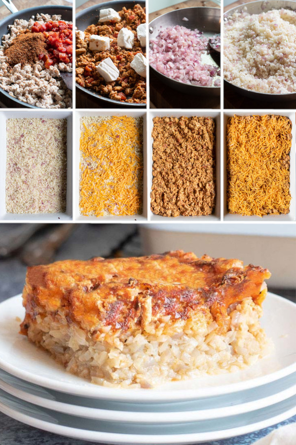 Have you ever cooked with ground chicken? ? . If you have, you either love it, or think it's dry — which this ground chicken casserole is definitely not! The chicken is cooked in a sauce of water and spices to keep it as moist and delicious as possible. #lowcarbgroundchickencasserole #groundchickencasserole