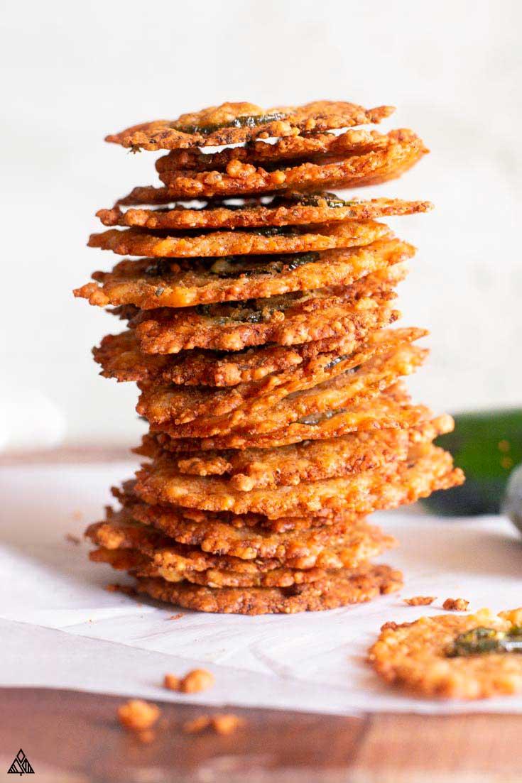 stack of jalapeno parmesan crisps