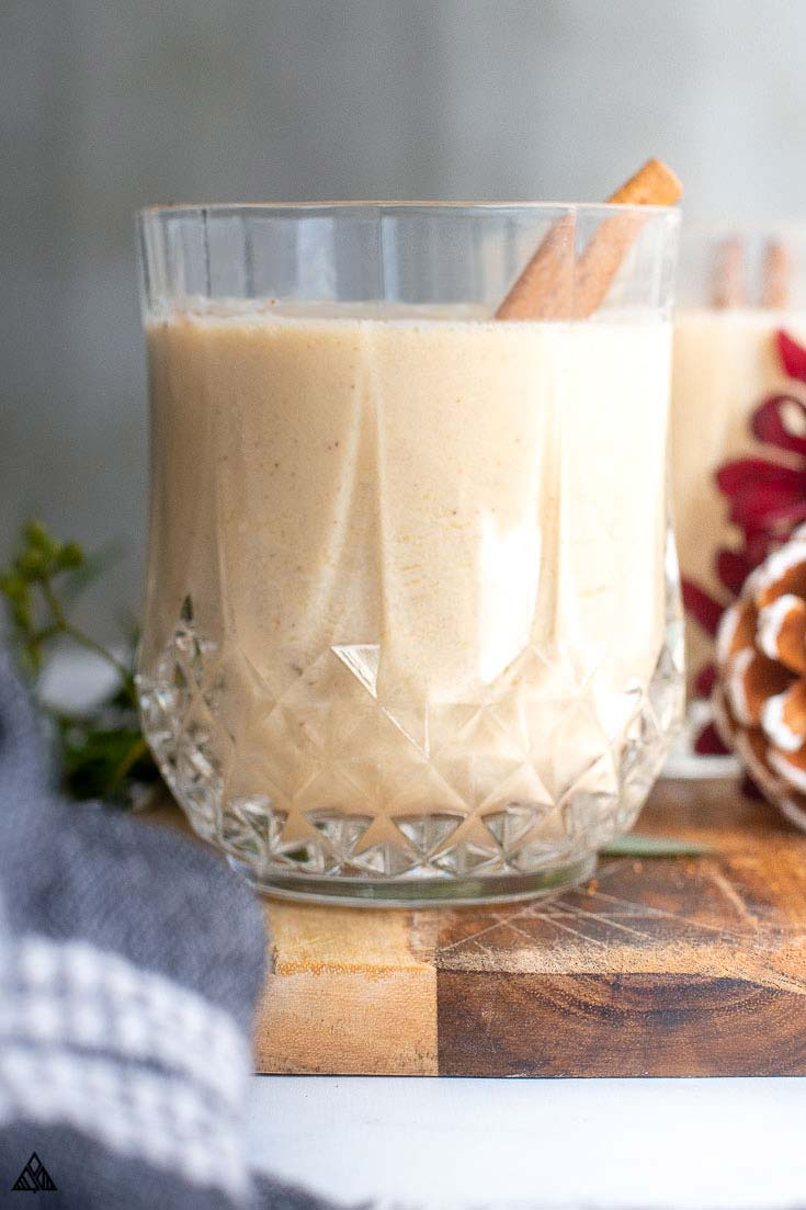 A glass of keto eggnog