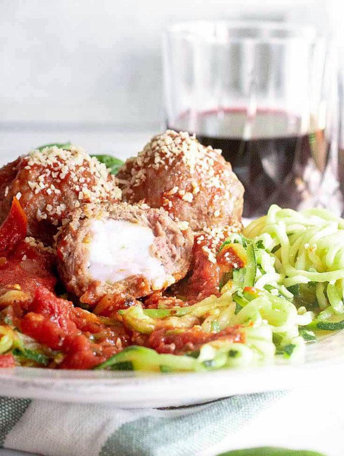 Mozzarella Stuffed Meatballs (1g Net Carb!)