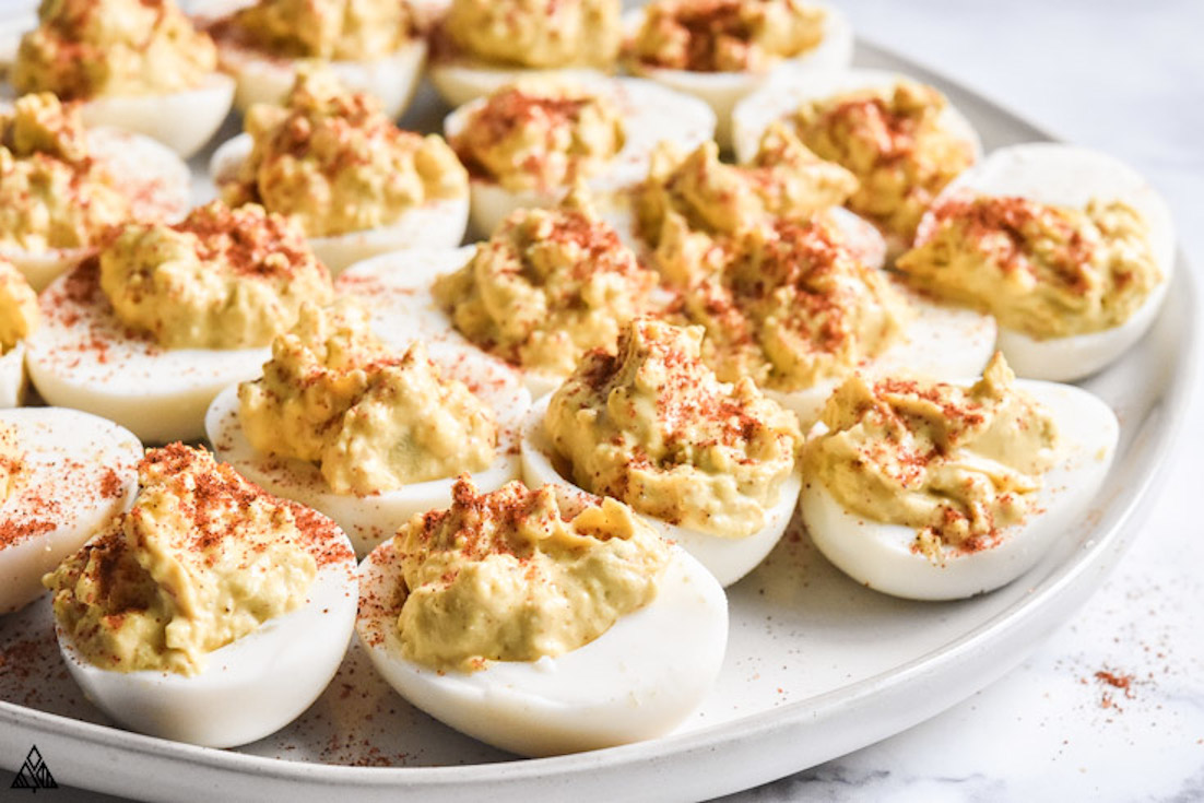 One of the best high protein low carb snacks is classic deviled eggs