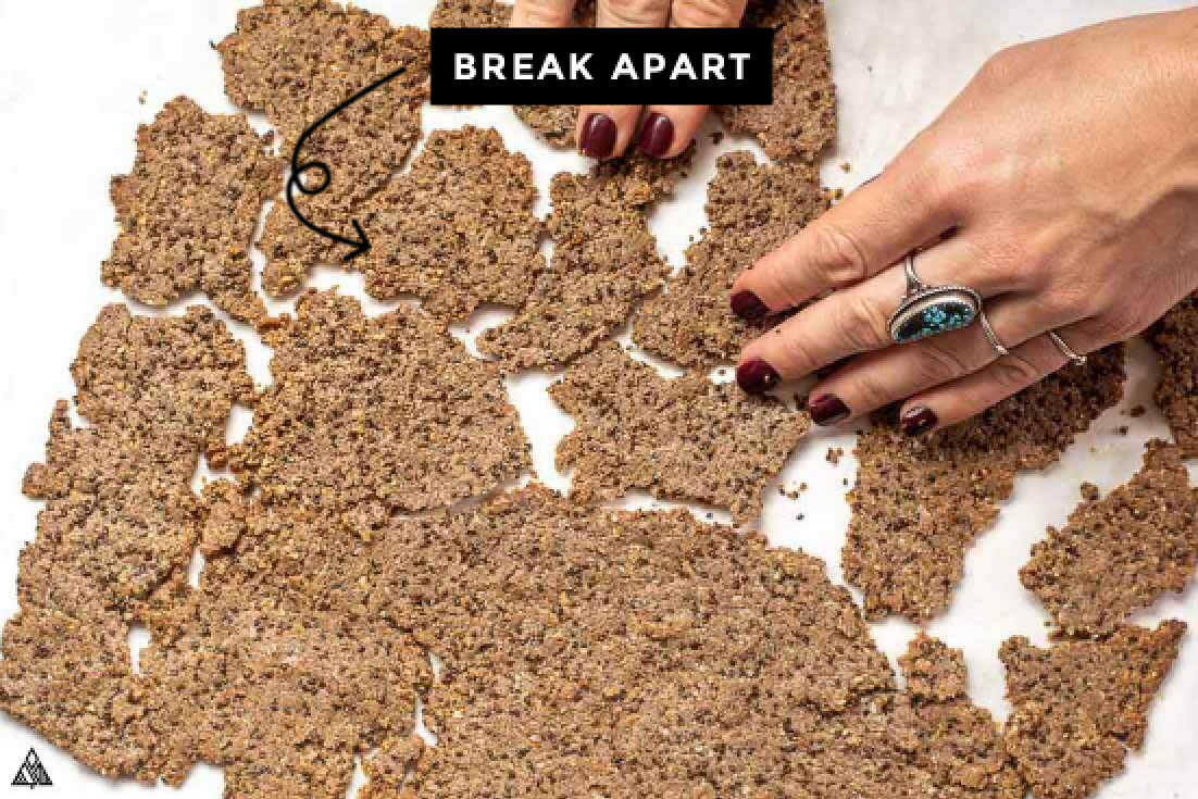 Breaking the flax seed crackers apart