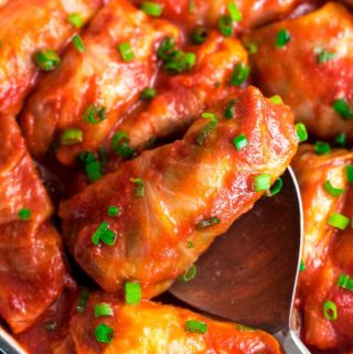 closer look of keto cabbage rolls