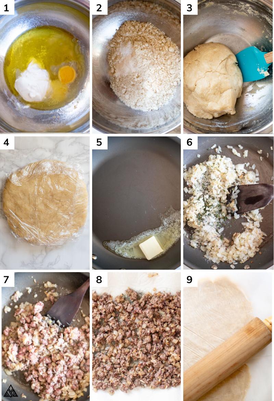 Steps in making keto dumplings