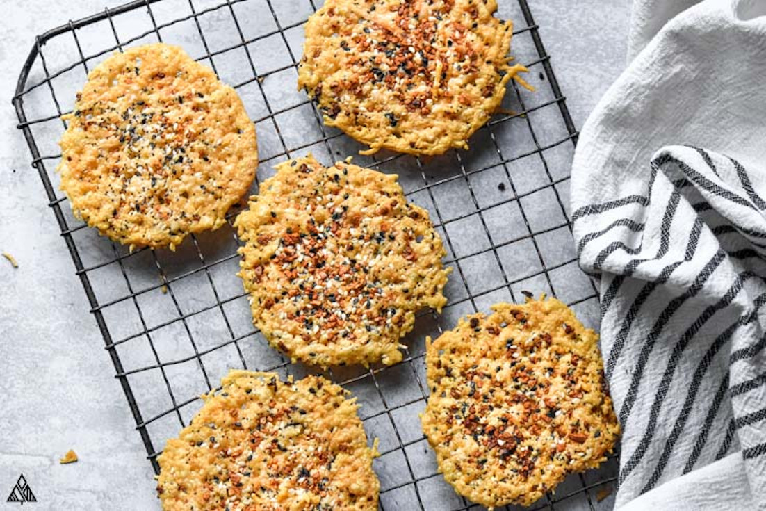 One of the best high protein low carb snacks is parmesan crisps