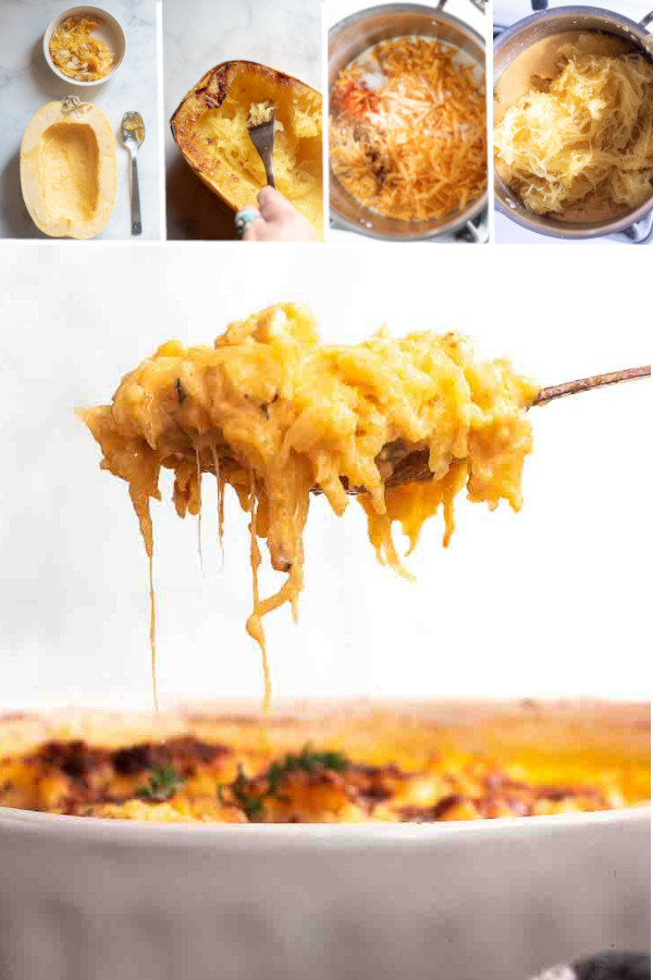 How do you make a delicious cheesy sauce without flour you ask? ??? . Easy, hint: it'll make your meal even CHEESIER! #ketospaghettisquash #lowcarbspaghettisquash