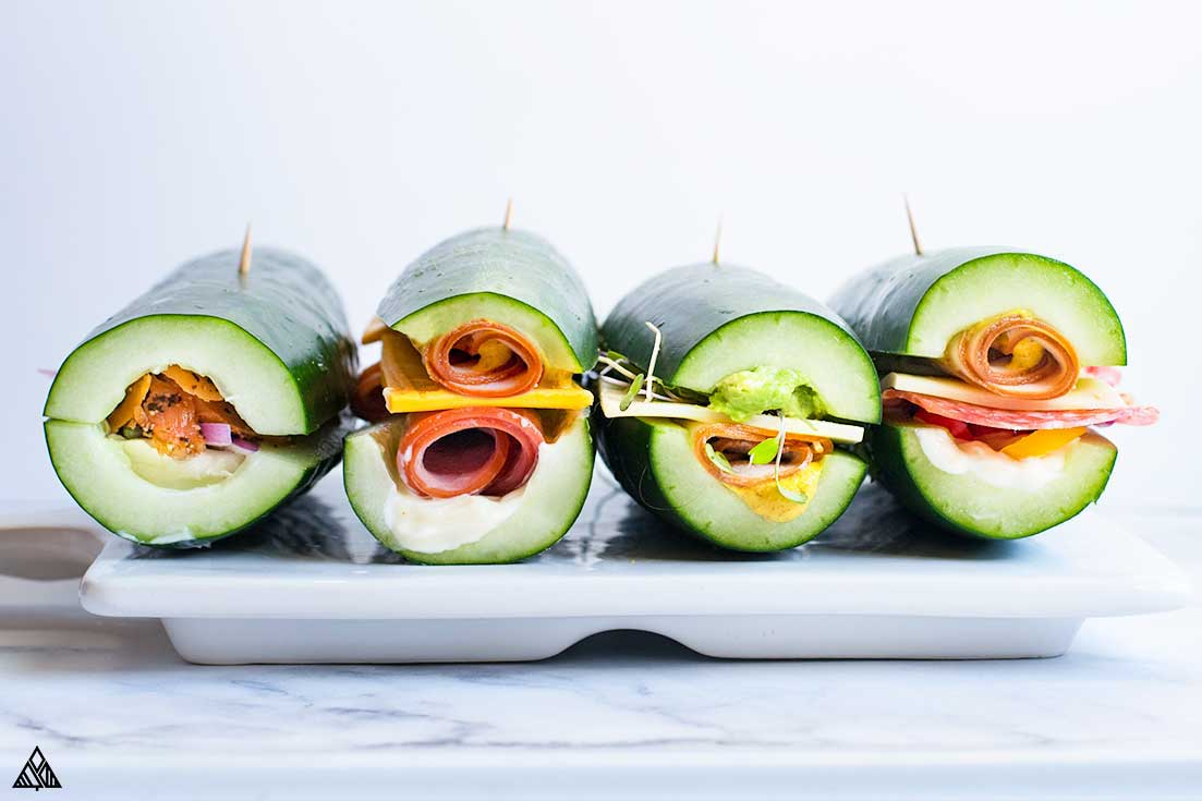 One of the best high protein low carb snacks is cucumber sandwiches
