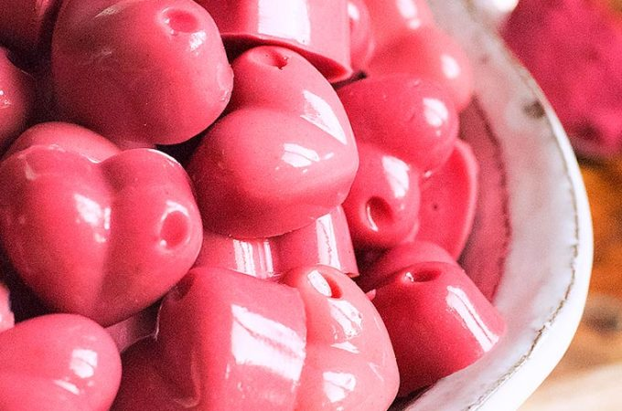 A bowl of heart shaped low carb gummies