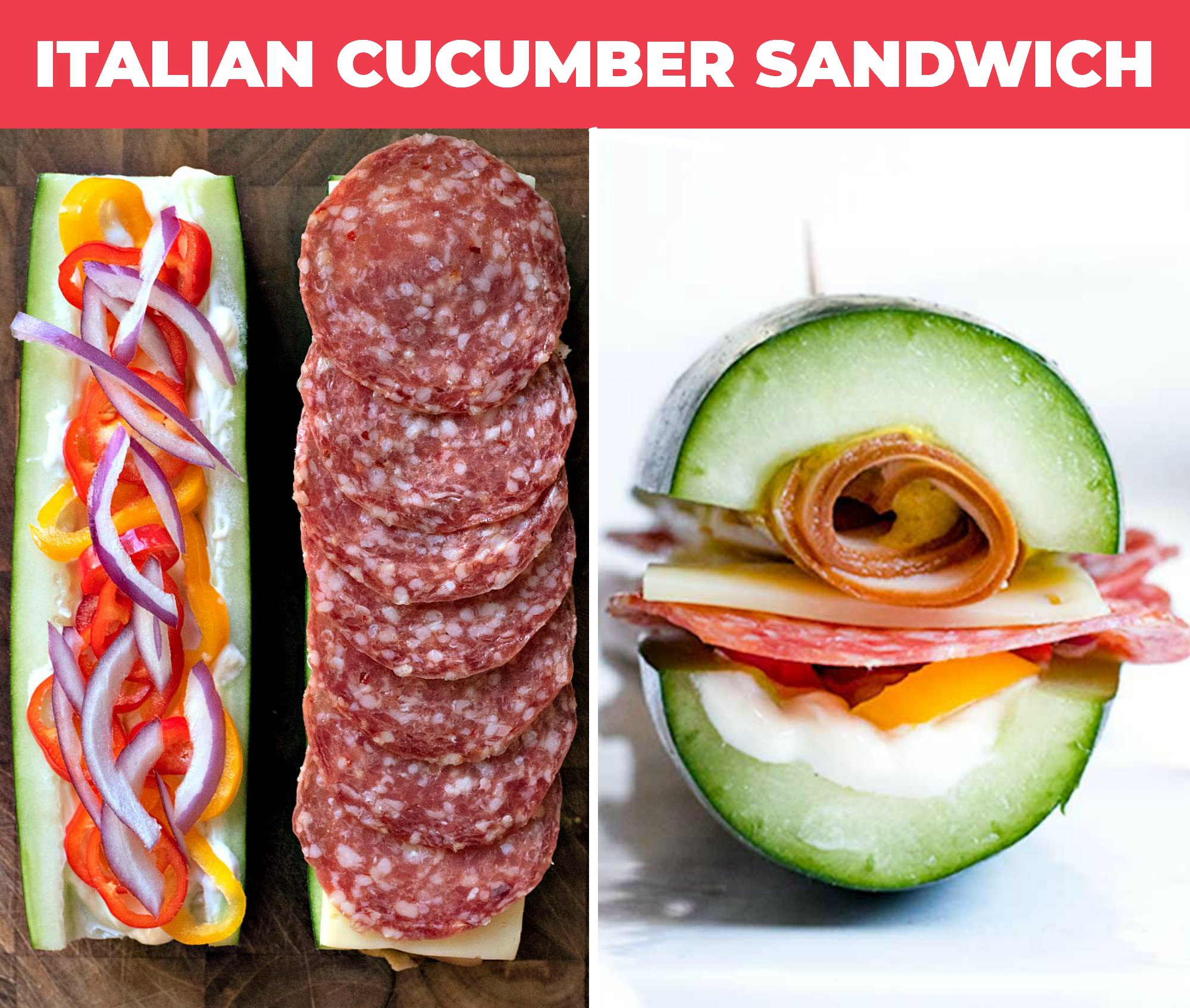 collage of italian cucumber sandwich