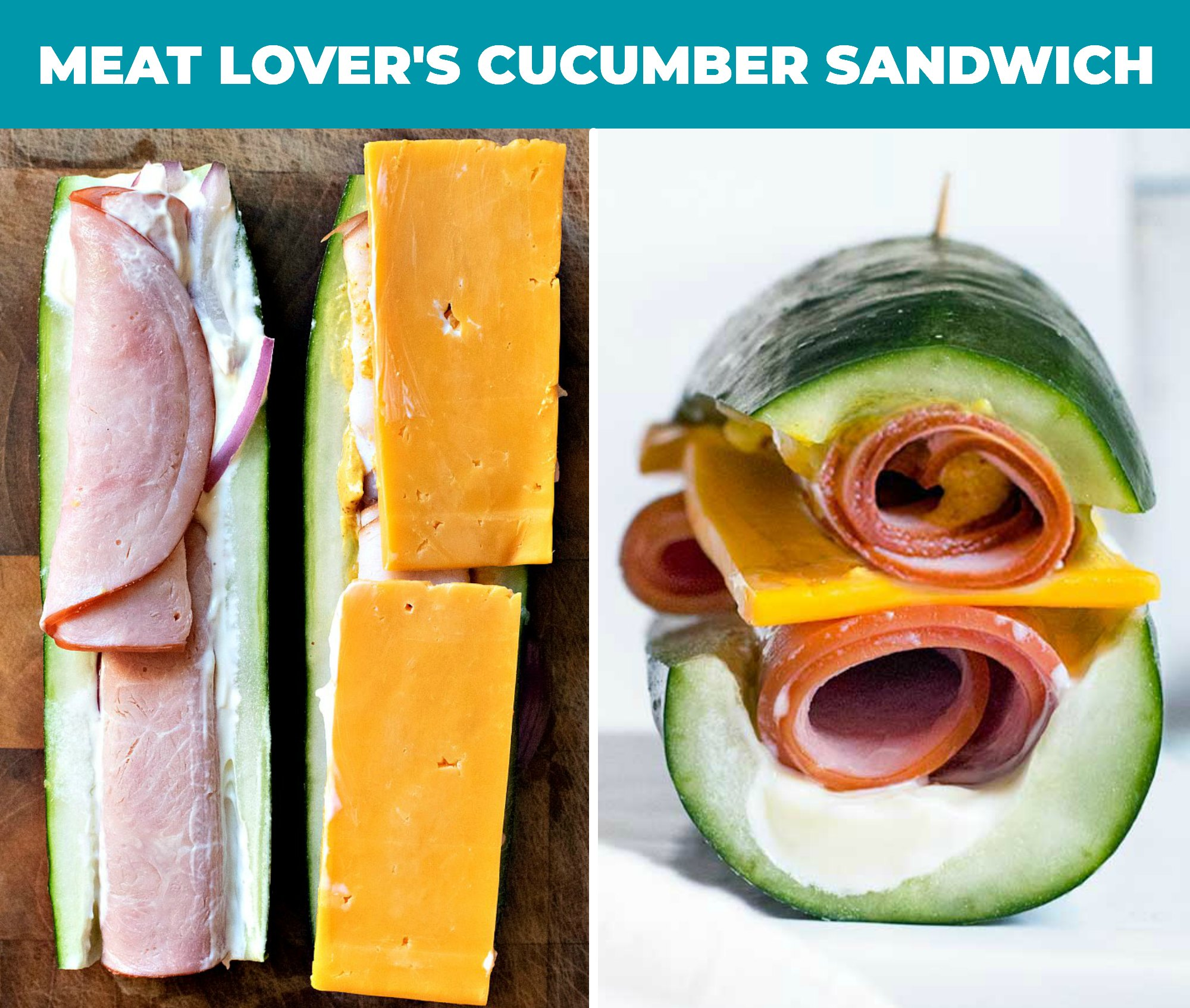 collage of meat lover's cucumber sandwich