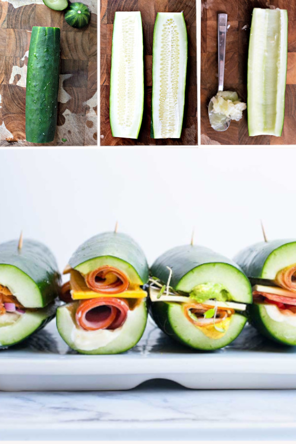 What's your favorite kind of sandwich? ?? Because I have really awesome news, you can toss those ingredients inside sliced cucumber instead of bread for a low carb treat!! #cucumbersandwiches #lowcarbcucumbersandwiches