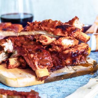 Instant pot cut ribs on a cutting board