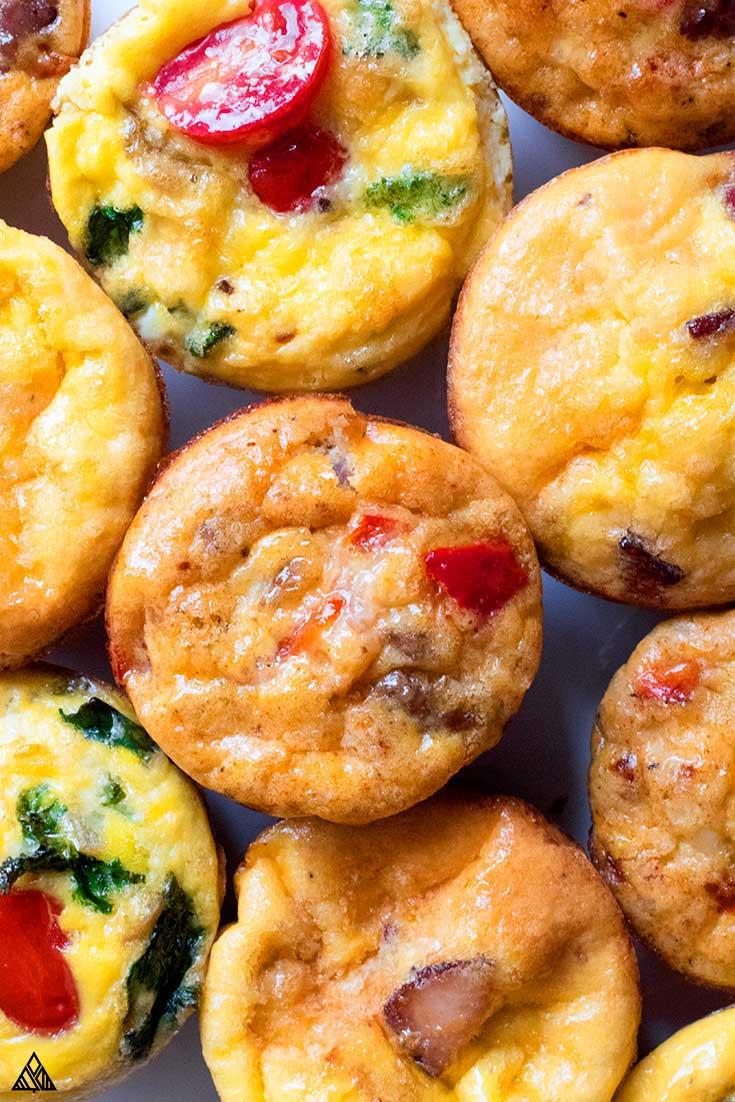 Top view of keto egg muffins