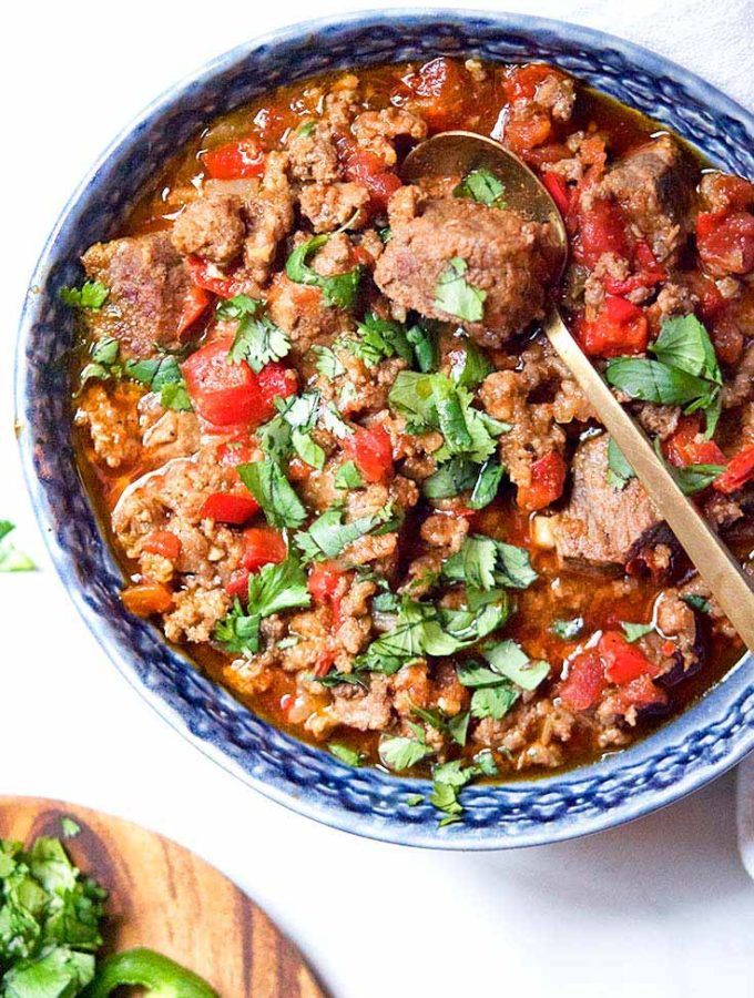 3 Meat Paleo Chili, Low Carb + Keto