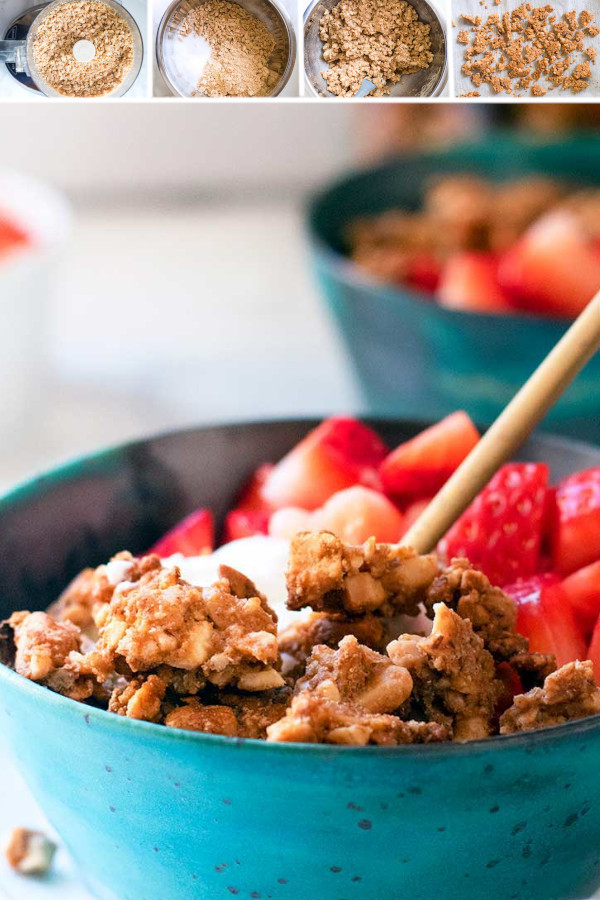 You guys! I'm so excited to share with you my new FAVORITE low carb breakfast! Introducing peanut butter grain free granola... . I used peanut flour to add protein to each cluster, and erythritol to sweeten it up. We can't get enough over here in my house, let me know what you think! #grainfreegranola #lowcarbgrainfreegranola