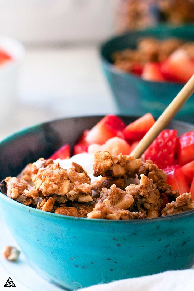 Closer look of grain free granola on the side