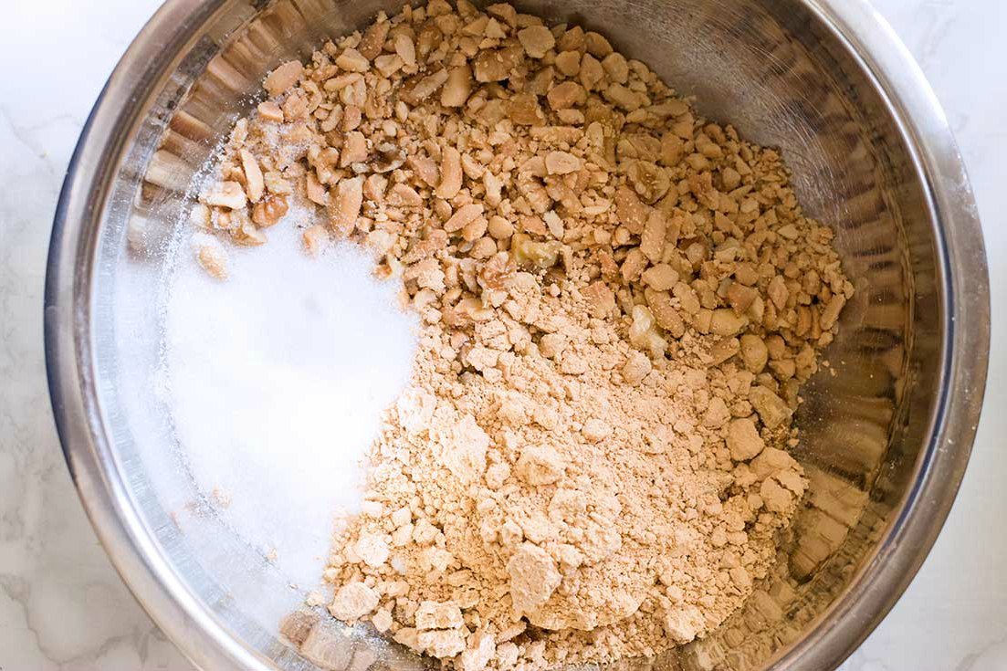 Ingredients for grain free granola mixed together