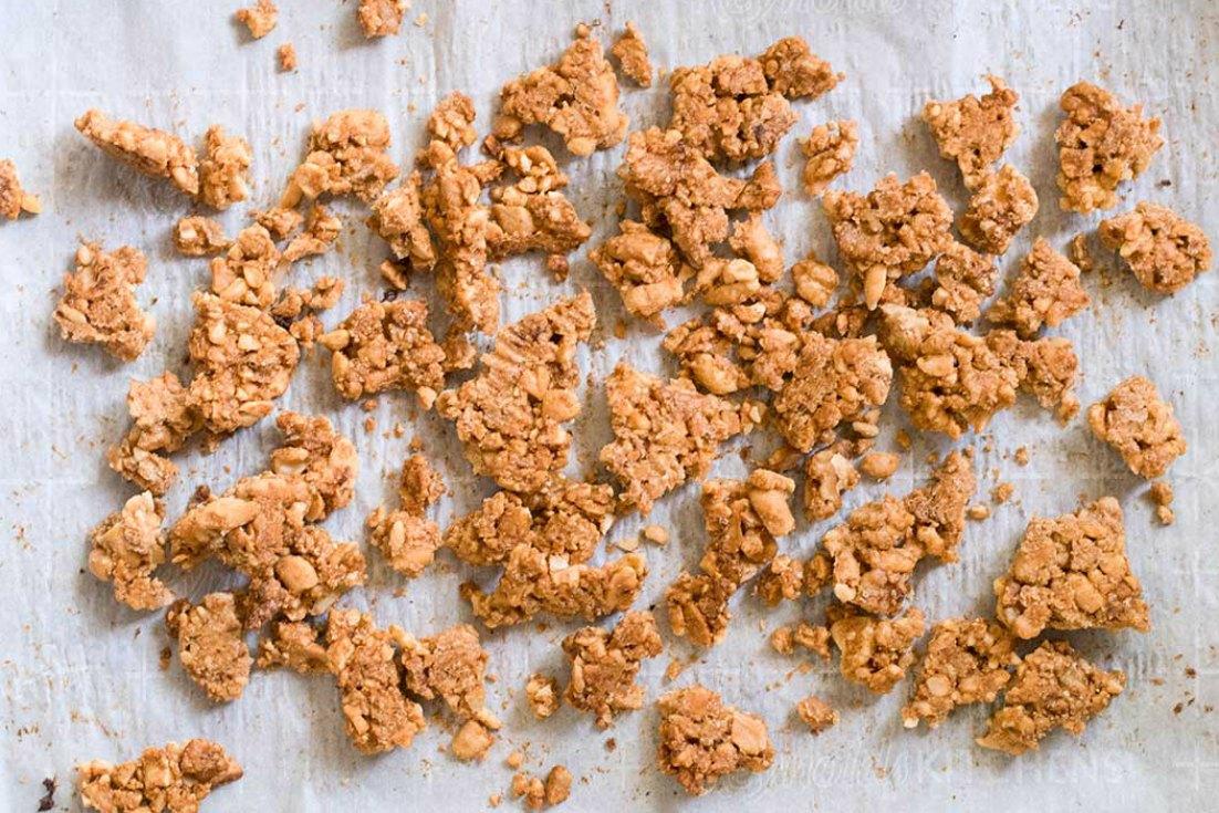 Grain free granola in a parchment paper