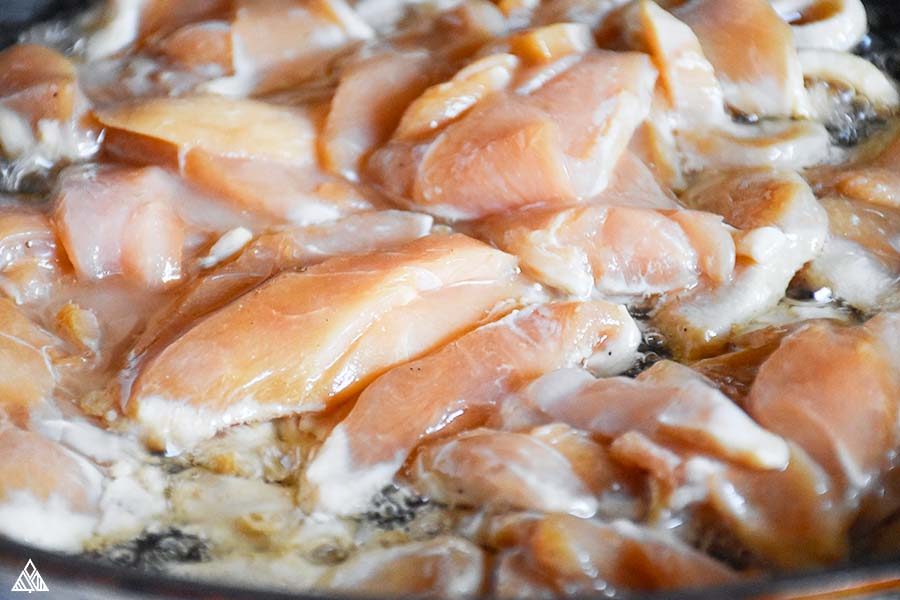 Chicken meat in a nonstick pan